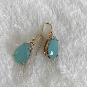 Teal Tar Drop Gemstone Earrings